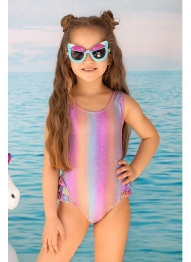 Katia & Bony Unicorn Desenli Fırfır Detaylı  Kız Çocuk Mayo - Mix Renkli